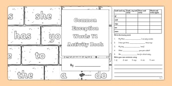 Common Exception Words Y1 Activity Book - common exception words, year 1, activity book, activity, book, excpetion words