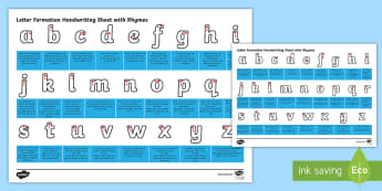 Australian Letter Formation Handwriting with Rhymes Activity Sheet - Letter Formation Handwriting Sheet with Rhymes - letter formation, handwriting, hand, write, writing
