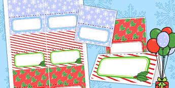 Editable Christmas Party Place Names - festivities, celebrations