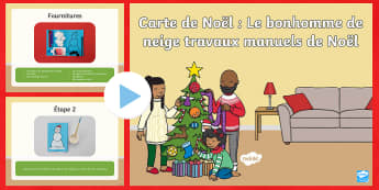 PowerPoint : Carte de Noël avec bonhomme de neige - Travaux manuels de Noël