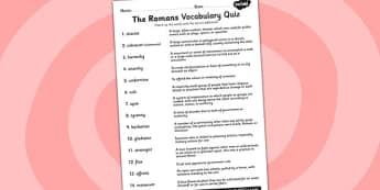 Ancient Rome Vocabulary and Definition Matching Worksheet - romans