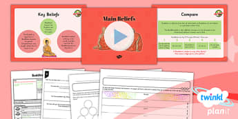 PlanIt - RE Year 4 - Buddhism Lesson 2: Main Beliefs Lesson Pack - buddhist, Buddha, nirvana, enlightenment, karma