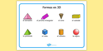 Formas en 3D 3D Shape Word Mat Spanish - spanish, Word mat, writing aid, 3D Shape names, Shape Flashcards, Shape Pictures, Shape Words, 3D flashcards