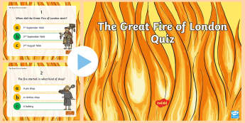 The Great Fire of London Quiz PowerPoint - history, england, uk, ks1, presentation, fun, activity, questions, answers,