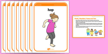 Foundation PE (Reception) Heads, Shoulders, Knees and Toes Warm-Up Activity Card - physical activity, foundation stage, physical development, games, dance, gymnastics