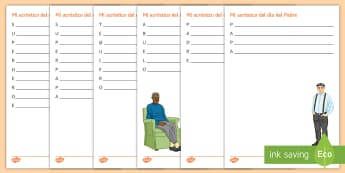 Father's Day Acrostic Poem Spanish - KS3, Spanish, Father, day, festivities, events, culture, dia, padre, celebrations, acrostic, poem, a
