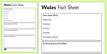 Wales Factsheet Writing Template - wales, wales fact sheet, wales fact file, wales worksheet, facts about wales, welsh culture, ks2 geography