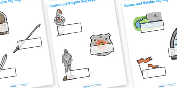 Editable Self Registration Labels (Castles and Knights) - Self registration, register,  Knights, Castles, editable, labels, registration, child name label, printable labels, Castles and Knights, maiden, castle, tower, dragon, sword, horse, flag, shie