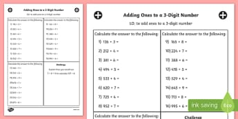 Adding Ones to a 3 Digit Number Worksheet Year 3 - Maths, Numbers