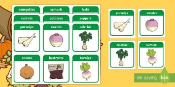 Harvest Vegetables Flashcards - ROI Harvest, veg, harvesting, farming