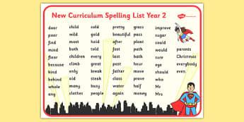 Superhero Themed Spelling List Year 2 Word Mat - superhero, themed, spelling list, spelling, spell, list, year 2, word mat