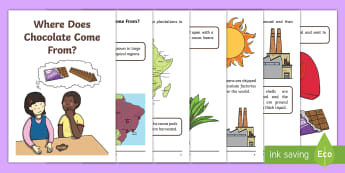 Where Does Chocolate Come From? Booklet - Where Chocolate Comes From Matching Activity - match, chocolate, choclate, mathching, cacao, cocoa,