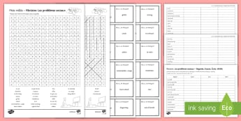 Social Issues Revision Activity Sheets French - vocabulary, problèmes sociaux, wordsearch, differentiated, loop cards, look cover write check.,Fren