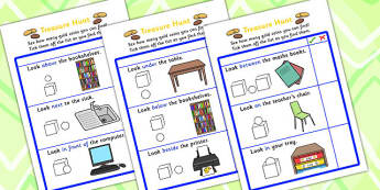 Preposition Treasure Hunt - positions, SEN, SEN games, treasure, prepositions