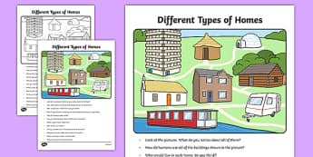 Different Types of Homes Oral Language Activity Sheet-Irish, worksheet