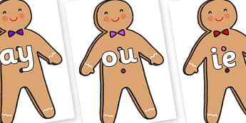 Phase 5 Phonemes on Gingerbread Man - Phonemes, phoneme, Phase 5, Phase five, Foundation, Literacy, Letters and Sounds, DfES, display