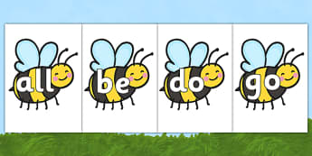 Tricky Words on Bees - Tricky words, DfES Letters and Sounds, Letters and sounds, display, words
