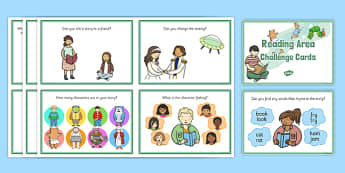 Reading Area Challenge Cards - challenge, cards, reading, area