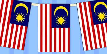 Malaysia Flag Display Bunting - countries, geography, display