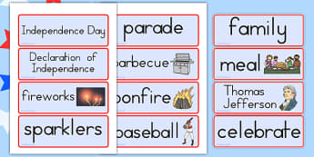 Independence Day Word Cards - independence day, word, cards