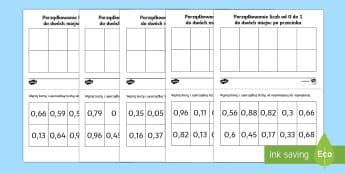 Karty Porządkowanie liczb od 0 do 1 Ułamki dziesiętne  - porządkowanie, sortowanie, karty, liczby, cyfry, ułamki, dziesiętne, liczenie, kolejność, najmn