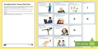 Secondary Transition Treasure Hunt Challenge Cards - Secondary Transition Resources, secondary, induction, taster, new pupils, transition, treasure hunt,