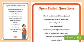 Open Ended Questions Display Poster - Classroom Management and Organization, open-ended questions, language, grade 1, grade 2, grade 3, gr