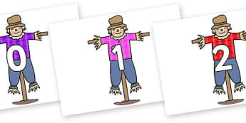 Numbers 0-31 on Scarecrows - 0-31, foundation stage numeracy, Number recognition, Number flashcards, counting, number frieze, Display numbers, number posters