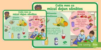 Cutia mea cu micul dejun - Planșă  - alimente, alimentație sănătoasă, materiale, română, mic dejun, cutia cu mic dejun