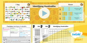 PlanIt Y4 Fractions Hundredths (1) Lesson Pack - Fractions, hundredths, tenths, equal pieces, Count up and down in hundredths; recognise that hundred