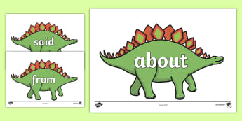 100 High Frequency Words on Dinosaurs - High frequency words, hfw, dinosaur, dinosaurs, DfES Letters and Sounds, Letters and Sounds, display words, t-rex, stegosaurus, raptor, iguanodon, tyrannasaurus rex