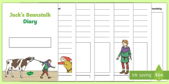 Jack's Beanstalk Diary Writing Template - jack and the beanstalk, diary writing, diary, writing, jack, plants growing, beans, seeds, grow, pla