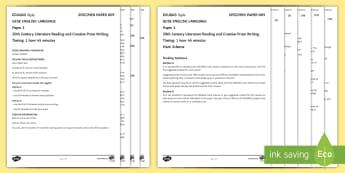009 Eng Lang EDUQAS Style P1 Exam Questions Pack - English language GCSE Exam Papers, WJEC, EDUQAS, Reading, Writing, C19th Literature, Creative Prose,