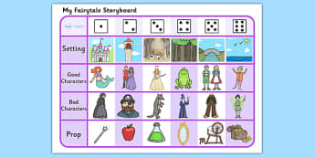 Fairytale Story Telling Prompt Dice Game - dice game, dice, playing with dice, story telling, literacy, story telling prompts, english, story writing, creative writing, setting, character, prompt game, activity