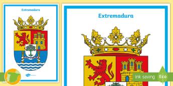 Póster: El escudo de Extremadura  - Mapas, provinicias, mapas mudos, mapas en blanco, las ciudades de españa, comarcas, concejos, comun