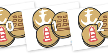 Numbers 0-50 on Sea Biscuits to Support Teaching on The Lighthouse Keeper's Lunch - 0-50, foundation stage numeracy, Number recognition, Number flashcards, counting, number frieze, Display numbers, number posters