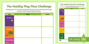Healthy Play Piece Challenge Activity Sheet - CfE Healthy Eating Week 12th June, healthy eating, playpiece, health and wellbeing, shanarri - CfE Healthy Eating Week 12th June, healthy eating, playpiece, health and wellbeing, shanarri