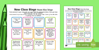 New Class Bingo English / Afrikaans - New Class Bingo - transition, games, classroom games, preparation, trasition, bump up day, tranistio