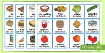 Food Word and Picture Cards - German - Food Word and Picture Cards - food, cards, cards showing food, different foods, names of food, food