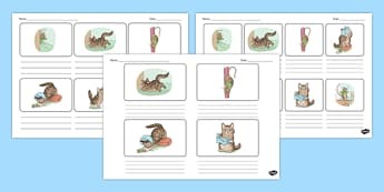 Beatrix Potter - The Story of Miss Moppet Storyboard Template - beatrix potter, miss moppet