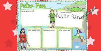 Peter Pan Story Review Writing Frame - peter pan, review, frame