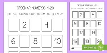 Ficha de actividad: Números que faltan - 1-20 - ficha, ordenar números, 1-20, uno a veinte, números, actividad, recortar, rellenar, completar, nú