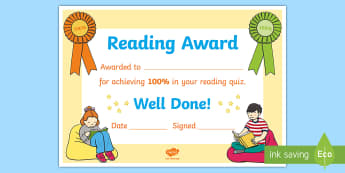 100% Reading Quiz Certificate - Accelerated Reader, AR, ZPD, Reading, Fiction, Non Fiction, 100% club, Reading comprehension, ,Scott