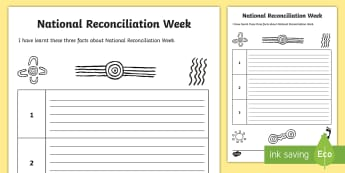 Facts I Have Learnt about Reconciliation Week Activity Sheet - Reconciliation Week, aboriginal, torres strait island, fairness, equality, sorry day, worksheet, mab
