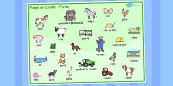 La fermă - Planșă cu imagini și cuvinte