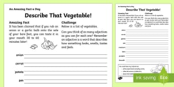 Describe That Vegetable Activity Sheet