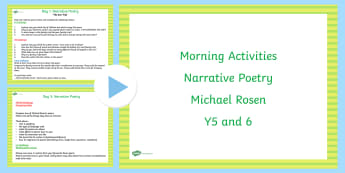 Year 5 and 6 English Morning Activities Narrative Poetry - poems