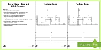 Food and Drink Barrier Game Crossword - communicative activity, paired game, paired talk, vocabulary, Speaking and listening
