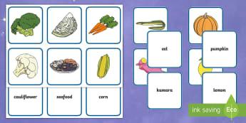 Matariki ECE Matching Cards - Matariki, matching, fruit, vegetables, food, harvest, new year, new zealand