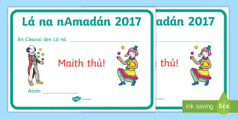 April Fools' Day Joker of the Day Certificate Gaeilge - ROI, Certificate, April Fools Day, April, Certificate, Irish, Gaeilge, joke, prize, award,Irish